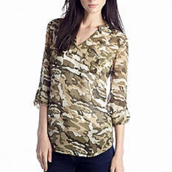 6ceb3a5f4b7db Vince Camuto Tops | Safari Camouflage Split Neck Tunic | Poshmark